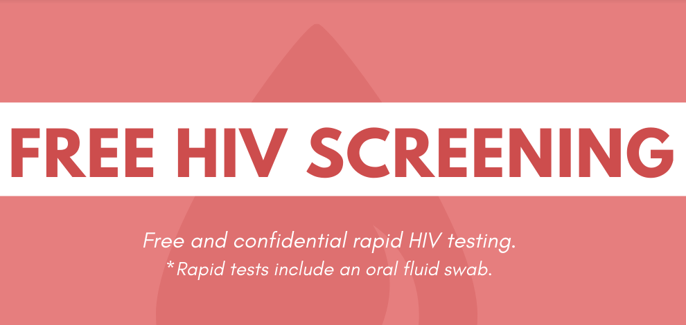 "Red background with a white stripe across it, with ""Free HIV Screening"" in red letters the stripe."