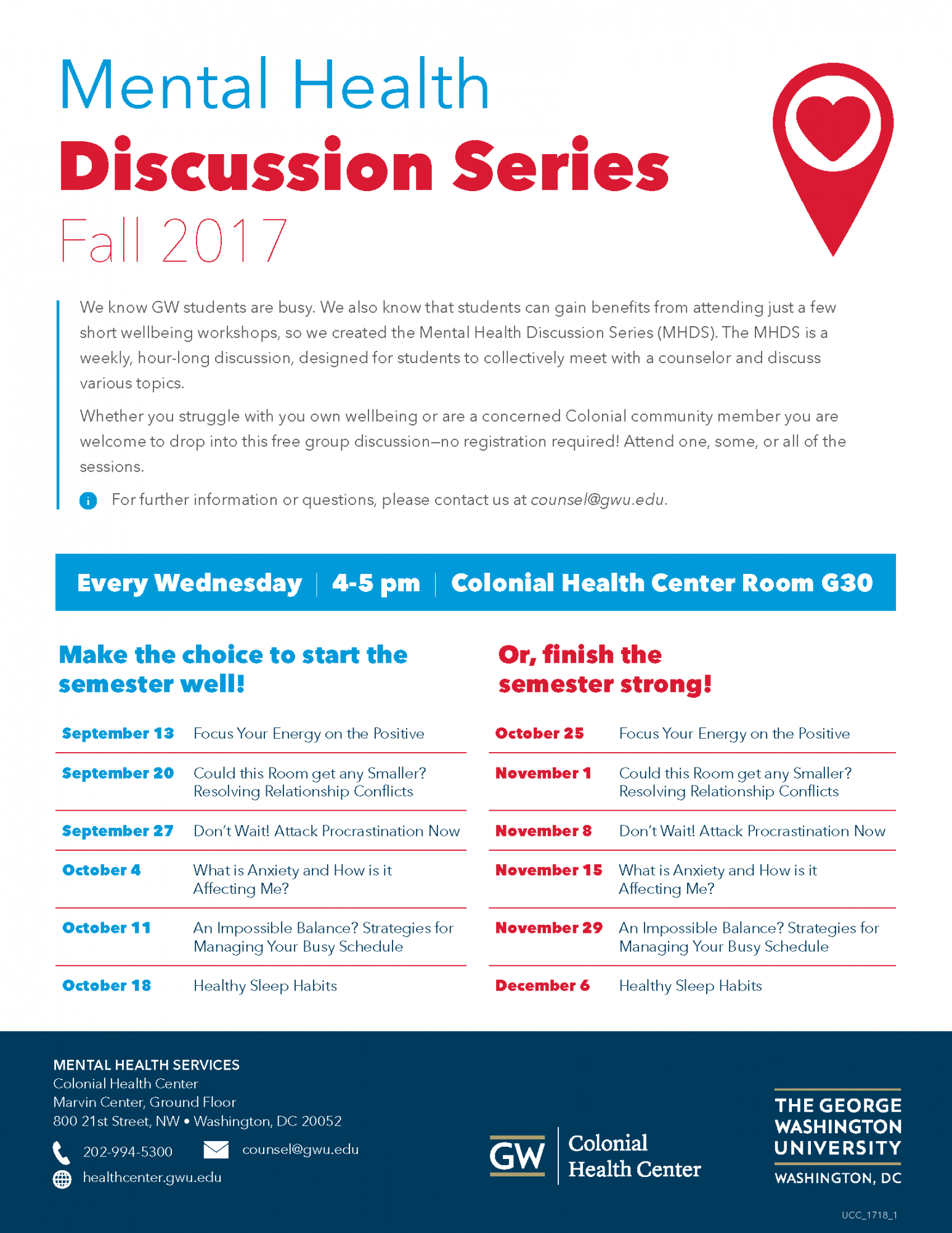 Mental Health Discussion Series Flyer