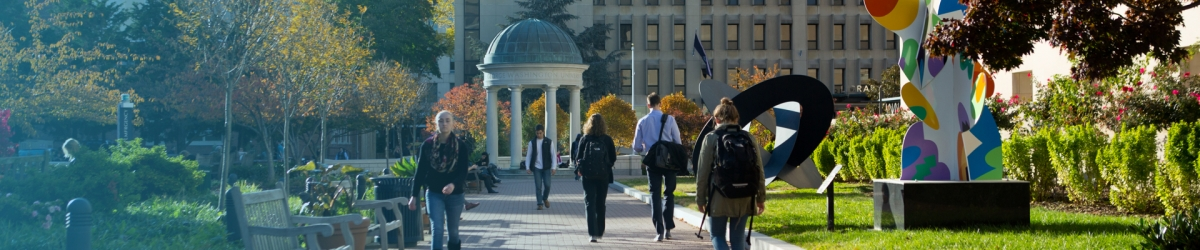 Students walk through the mid campus quad.