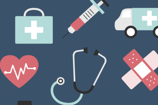 Graphic of a stethoscope, syringe, bandages, brief case, ambulance, and a heart with an EKG signal going across it.